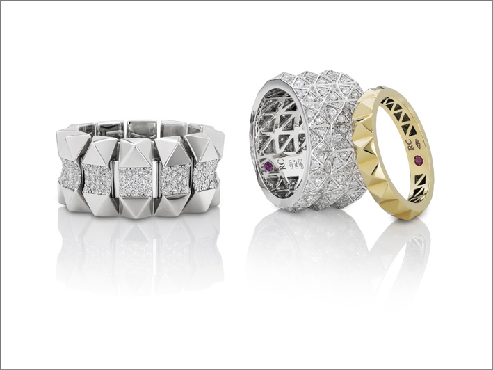 White gold soft ring with diamonds, white gold ring with diamonds and yellow gold ring