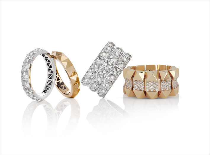 White, yellow and rose gold rings with white diamonds