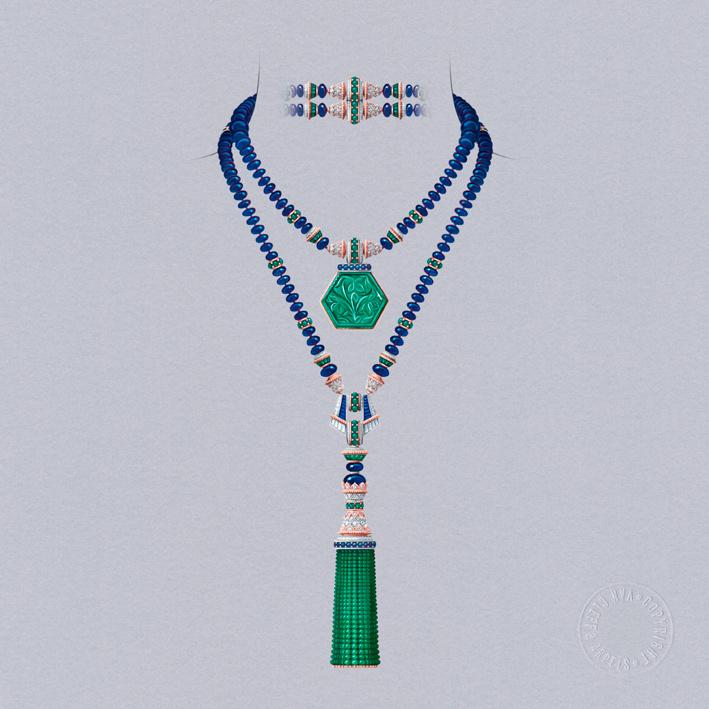 Sautoir Giardino, trasformabile. Oro bianco, oro rosa, uno smeraldo inciso di 81,07 carati (Colombia), sfere di zaffiro per circa 451 carati (Birmania), smeraldi, zaffiri, diamanti