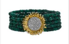 Bracciale con perle di smeraldi grezzi , argento, oro