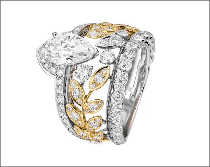 Anello con spiga di grano, oro giallo e bianco, diamanti
