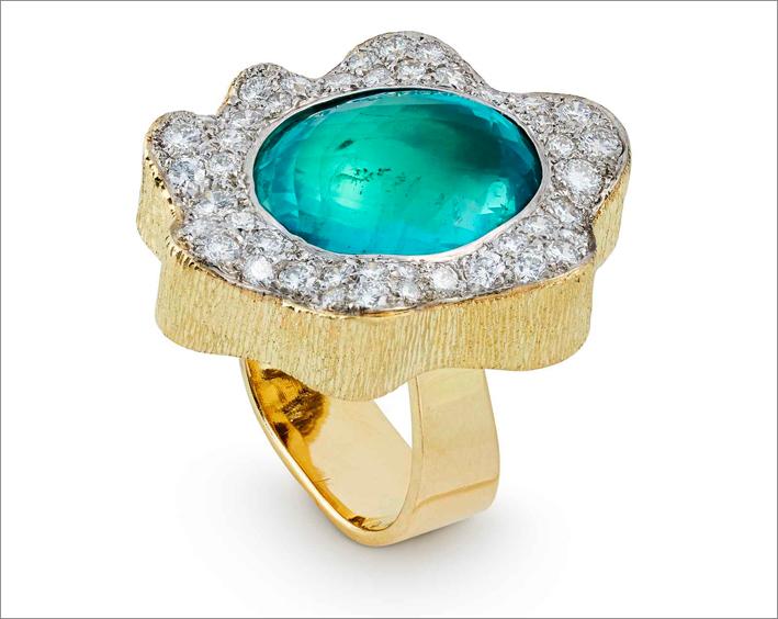 Anello un oro, smeraldo, diamanti