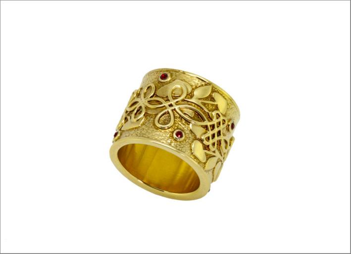 Anello dorato con pietre Swarovski