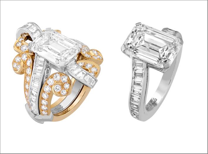Anello trasformabile Specchio. Oro bianco, oro giallo, un diamante DFL tipo 2A taglio smeraldo di 5,44 carati, diamanti. Il colore e la purezza (DFL tipo 2A) di tale pietra di 5,44 carati sono magnificati da un taglio smeraldo