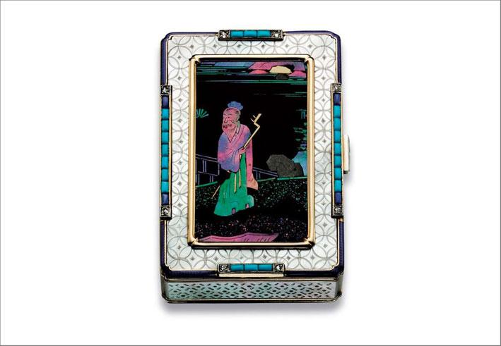 Vanity case art déco in madreperla, turchese, lapislazzuli, lacca. Cartier 1929