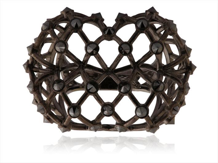 Bracciale in oro annerito e diamanti neri