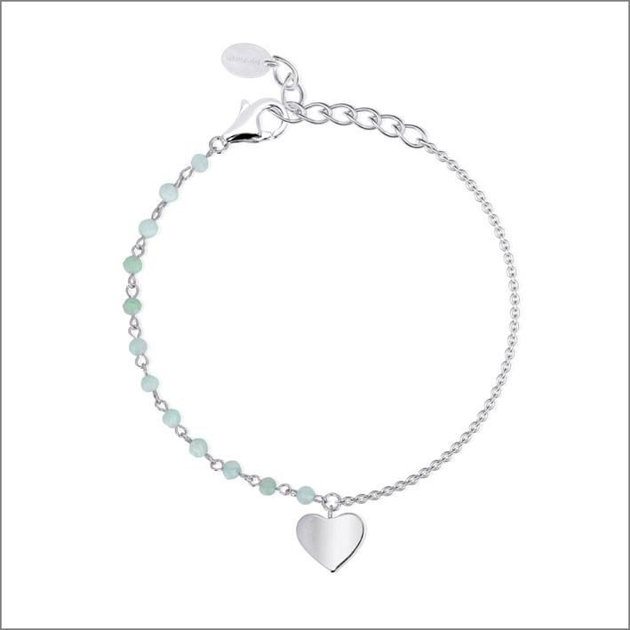 Bracciale in argento 925 con sfere di acquamarina e ciondolo a cuore