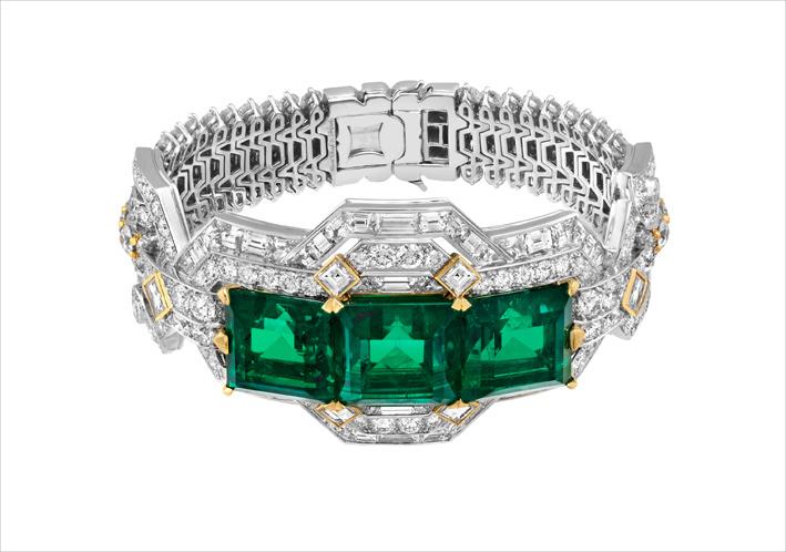 Bracelet Lovers Path. Oro bianco, oro giallo, 3 smeraldi taglio smeraldo di 14,17 carati, 13,71 carati e 11,90 carati (Colombia), diamanti