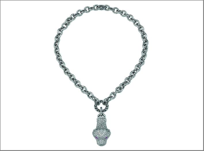 Collana serpente in oro bianco, diamanti, rubini