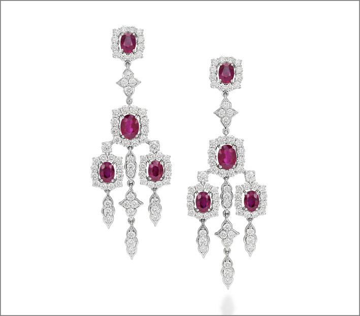 White gold ruby (8.47 ct) and diamond (8.89 ct) earrings set in white gold