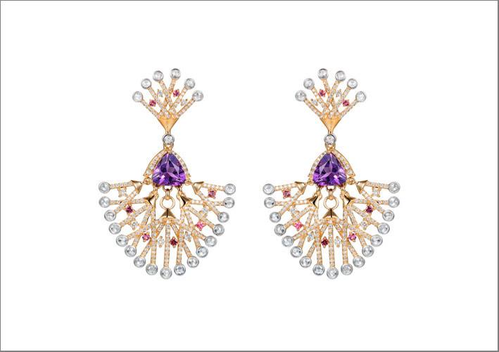 Orecchini con ametista e diamanti