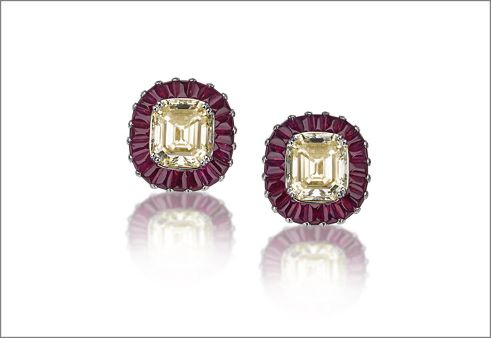 White gold ruby (14.21 ct) and diamond (15.68 ct) earrings set in white gold