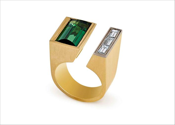 Anello con tormalina verde e diamanti, Francesca Grima