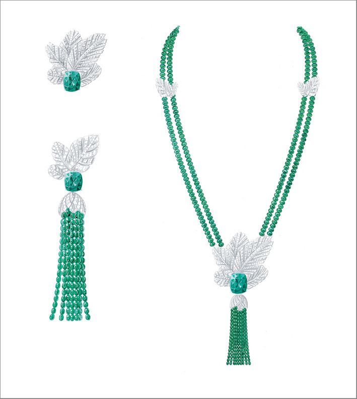 Secret Oasis Earrings, 18K white gold earrings set with 2 cushion-cut emeralds from Colombia (approx. 3.17 cts and 3.08 cts), 38 baguette-cut diamonds (approx. 1.20 ct), 367 brilliant-cut diamonds (approx. 2.55 cts) and 354 emeralds beads (approx. 97 cts). Transformable creation, earrings can be worn with or without the tassel and Secret Oasis Necklace, 18K white gold necklace set with 1 cushion-cut emerald from Colombia (approx. 22.06 cts), 187 baguette-cut diamonds (approx. 5.48 cts), 622 brilliant-cut diamonds (approx. 6.96 cts) and 688 emeralds beads (approx. 367.91 cts). Transformable creation, palm motif can be removed and worn as a brooch, either with or without the tassel. The neckline can be worn alone or transformed into 2 bracelets (16 cm)