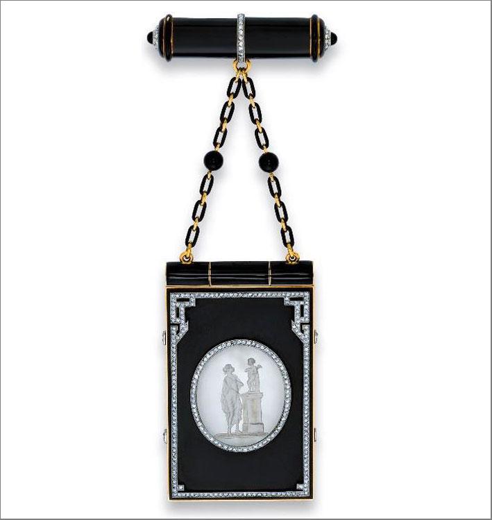 Vanity case art déco, in smalto, madreperla e diamanti. Cartier 1925