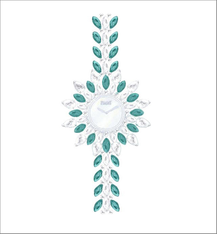 Vegetal Laces Watch, 18K white gold watch set with 52 marquise-cut emeralds (approx. 6.8 cts), 32 marquise-cut diamonds (approx. 4.4 cts), 57 brilliant-cut diamonds (approx. 2.8 cts) and 12 pearshaped-cut diamonds (approx. 1.8 ct). White mother-of-pearl dial, 56P quartz movement