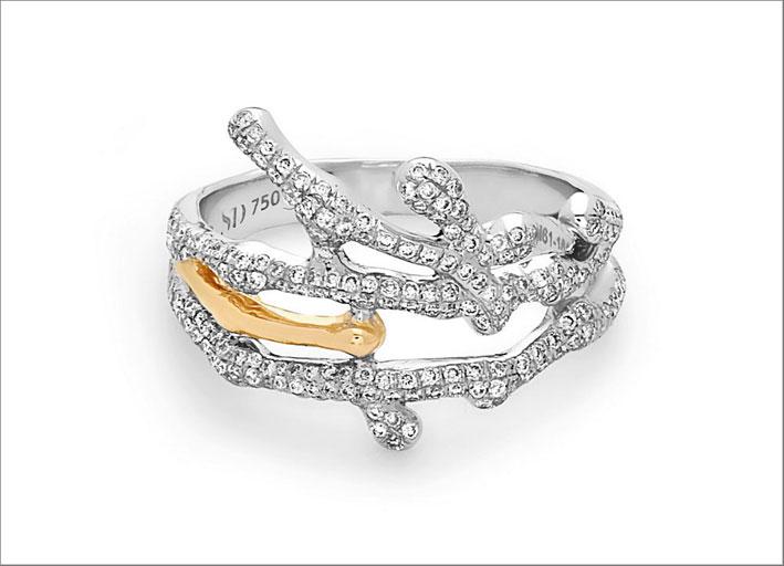 Anello Splatter in oro bianco e giallo con diamanti