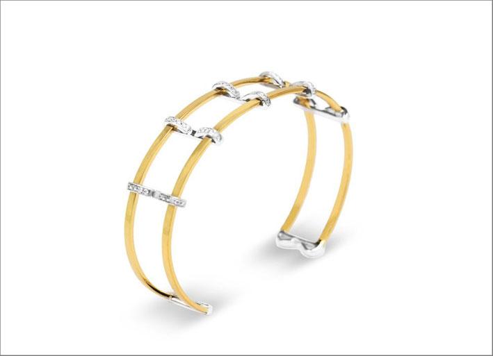 Bracciale in oro giallo e bianco con diamanti