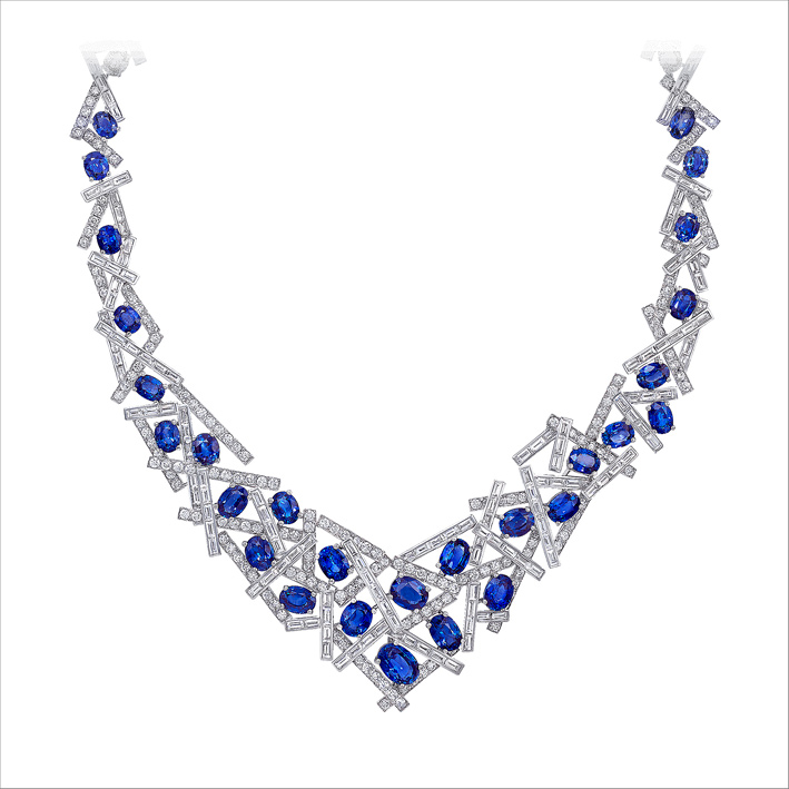 Collana in oro bianco, diamanti e zaffiri ovali Threads
