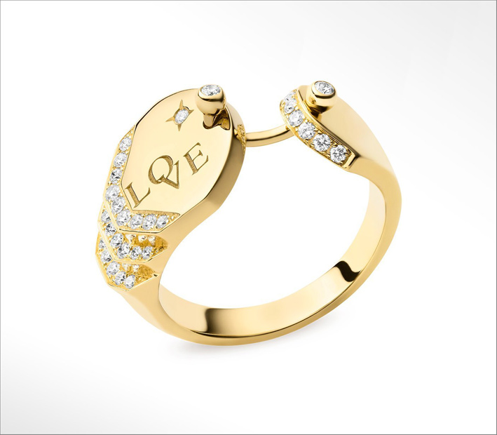 Anello Love in oro giallo e diamanti