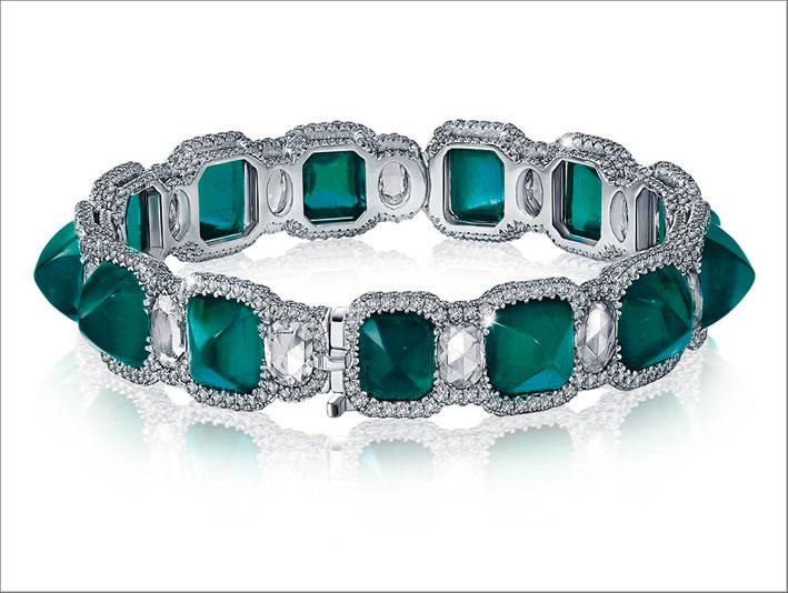 Bracciale con smeraldi colombiani e diamanti taglio rose