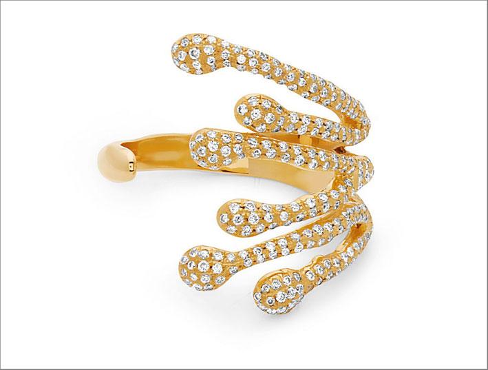 Anello Splatter in oro giallo e diamanti