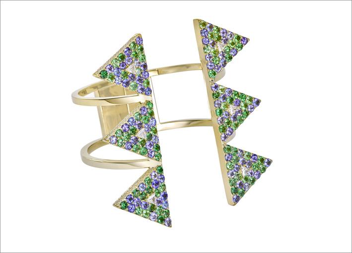 Bracciale in oro con tsavoriti, tanzaniti, diamanti bianchi