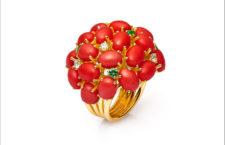 Alex Ball, anello con corallo rosso e tsavoriti