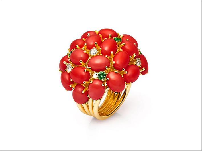 Anello con corallo rosso e tsavoriti