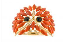 Bracciale Civetta, realizzato a mano i -Oro giallo 18 carati, diamanti, corallo rosso del per il piumaggio e nero per gli occhi
