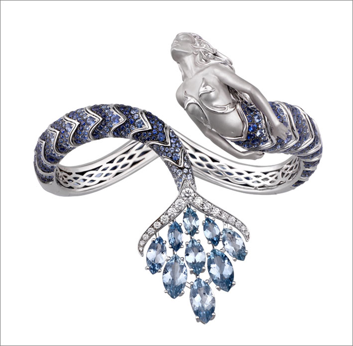 Bracciale nereide, acqua, in oro bianco, diamanti, zaffiri, acquamarina