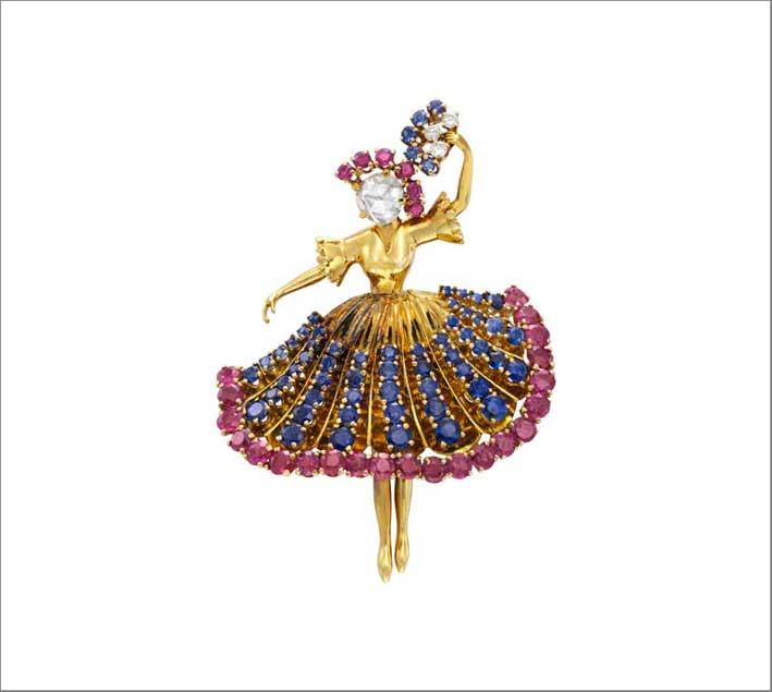 Clip Ballerine, 1945 Oro giallo, zaffiri, rubini, diamanti