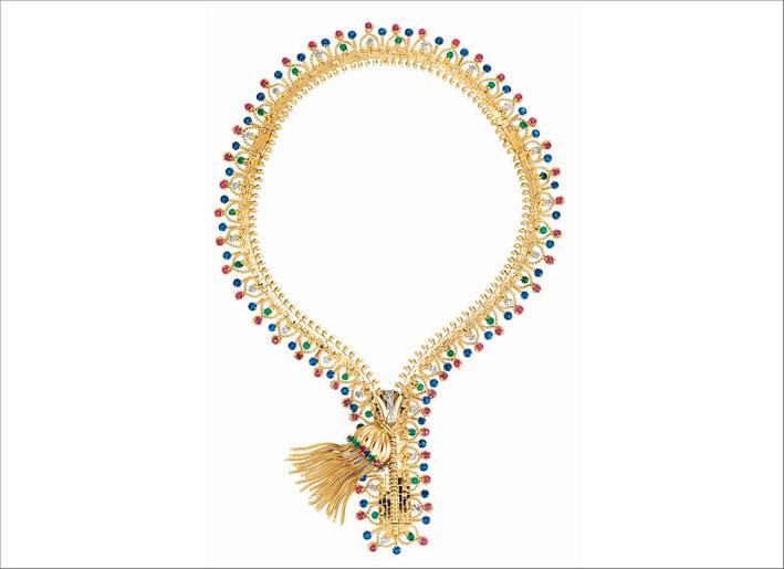 Collana Zip, 1951. Trasformabile in bracciale Platino, oro giallo, zaffiri, smeraldi, rubini, diamanti