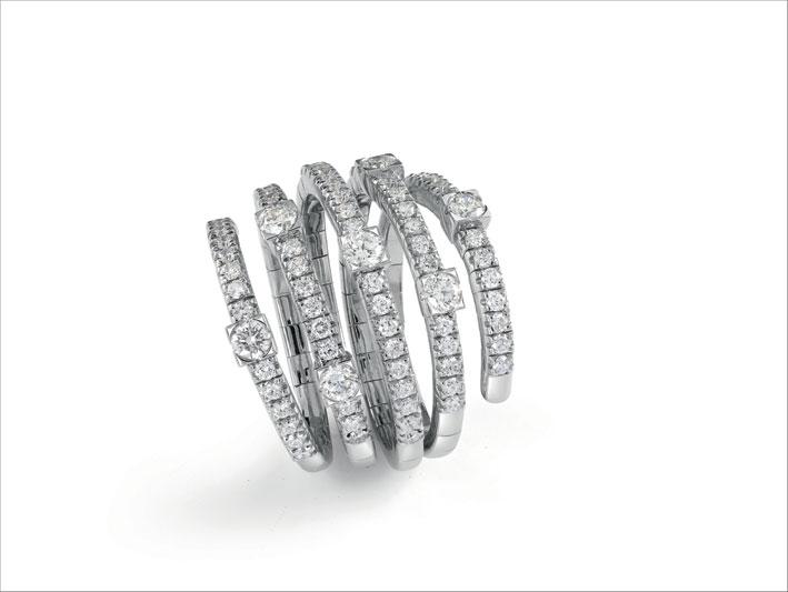 Collezione San Lorenzo anello multigiro in oro bianco