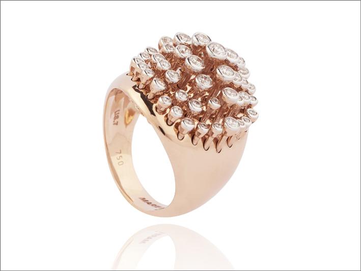 King Wave Ring, oro rosa e diamanti