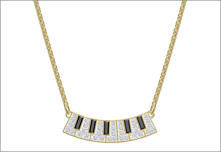 Collana con pendente a forma di tastiera di pianoforte