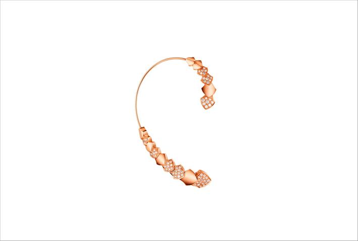 Orecchini Python in oro rosa e diamanti