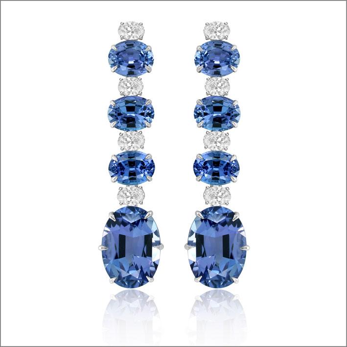Orecchini con diamanti e tanzanite