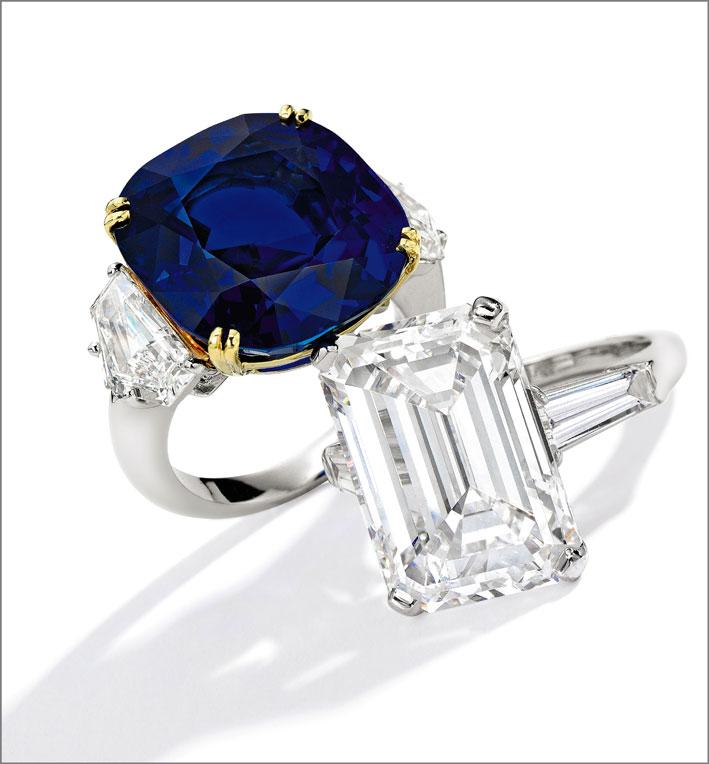 Due anelli di Cartier, con zaffiro e diamante taglio smeraldo