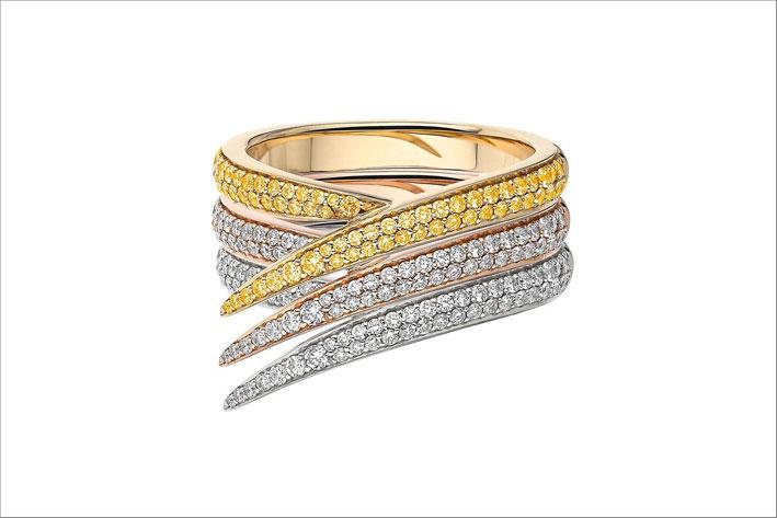 Anello in oro bianco e giallo, con diamanti e zaffiri gialli di Shaun Leane