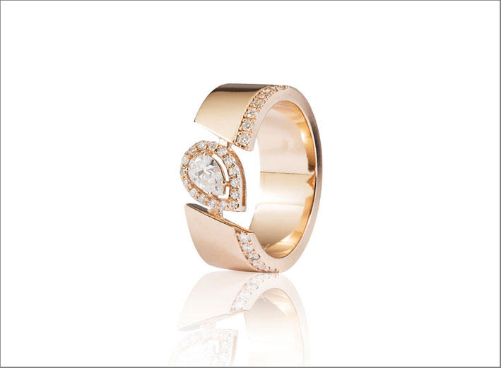 Anello in oro rosa e diamanti di Rf Jewels