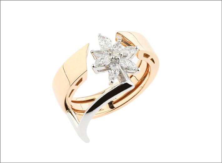 Anello in oro rosa e diamanti taglio marquise