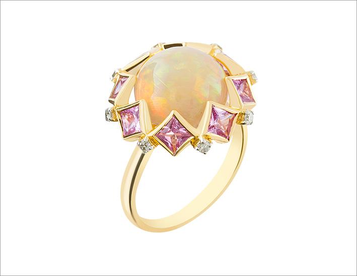 Anello in oro giallo 18 carati, diamante, opale di fuoco, zaffiro rosa