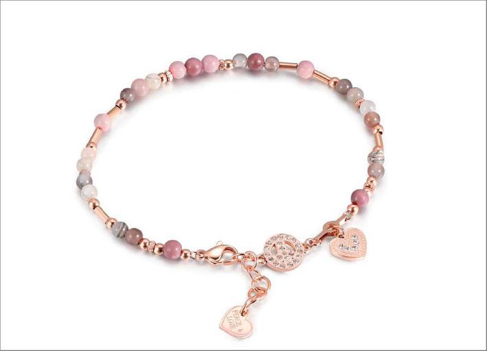Cavigliera in acciaio, pvd oro rosa, cristalli Swarovski,rodonite, agata del Bortswana
