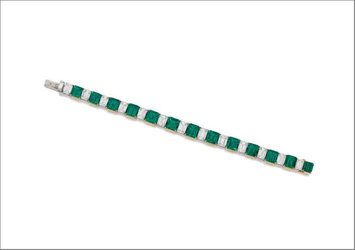 Bracciale con diamanti e smeraldi di Graff