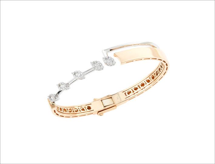 Bracciale in oro rosa, bianco e diamanti