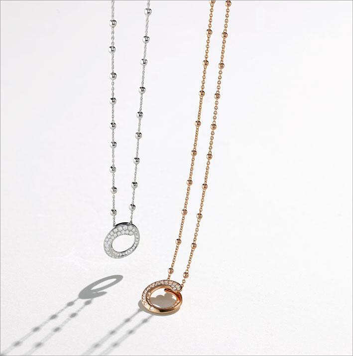 Collane con pendente in oro rosa o bianco e diamanti