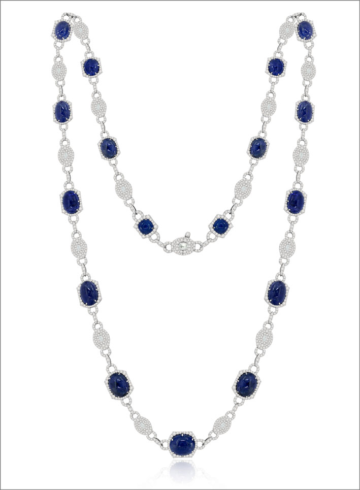 Collana di diamanti e tanzanite