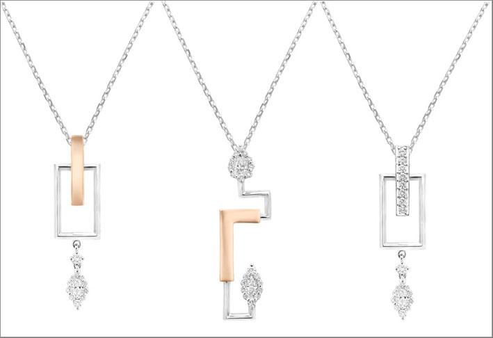 Collane con pendenti in oro rosa, bianco e diamanti