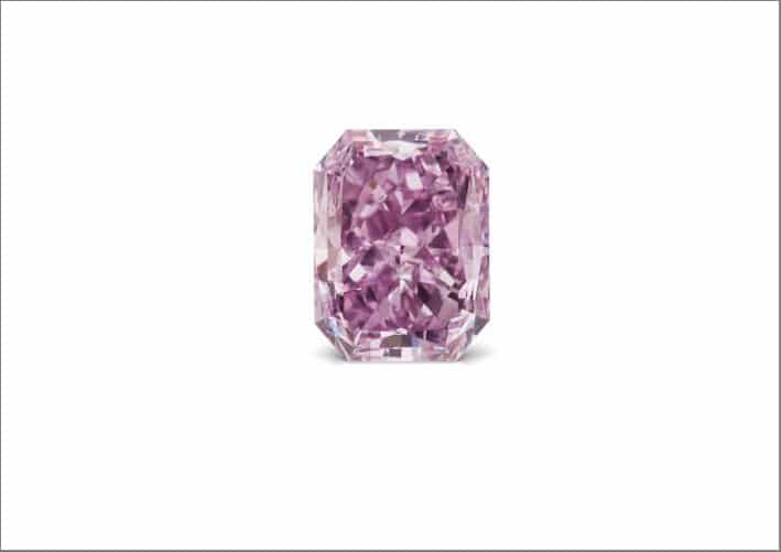 Diamante Fancy Vivid Pinkish Purple VS1, taglio rettangolare, 2 carati